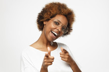 Hey You! Young Beautiful African American Woman Pointing To Camera With Fingers Isolated On Gray Background