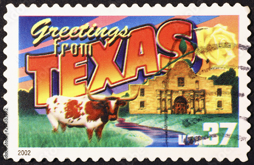 Poster Texas Greetings from Texas postcard on stamp