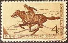 Legendary Pony Express On American Postage Stamp