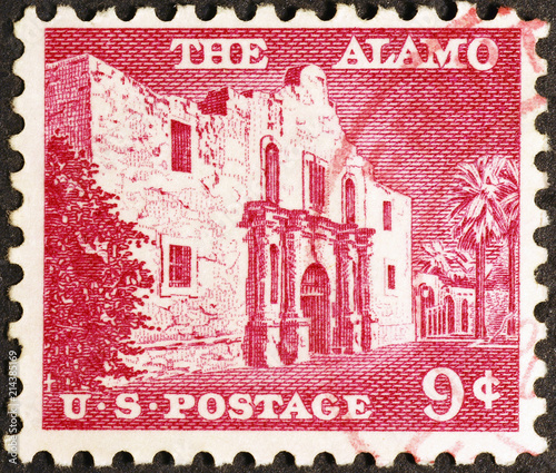 Alamo mission on vintage american postage stamp Canvas Print