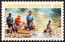 California Gold Rush On A Stamp