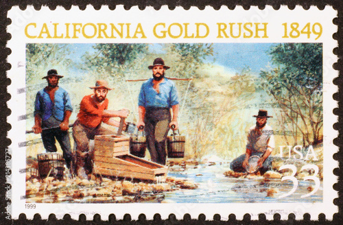 Fotografie, Obraz  California gold rush on a stamp