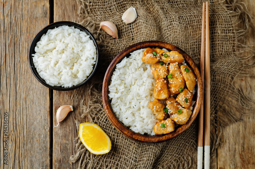 Fotografie, Obraz  Orange glaze chicken with rice