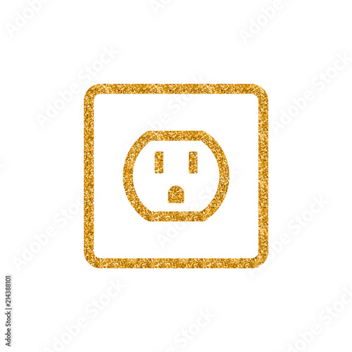 Fototapeta Electrical outlet icon in gold glitter texture. Sparkle luxury style vector illustration. obraz na płótnie