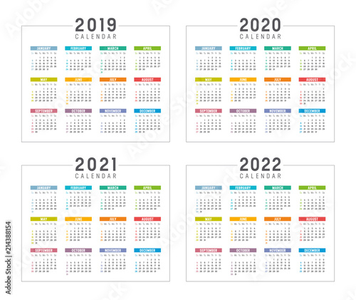Fotografia  Years 2019 2020 2021 2022 calendars