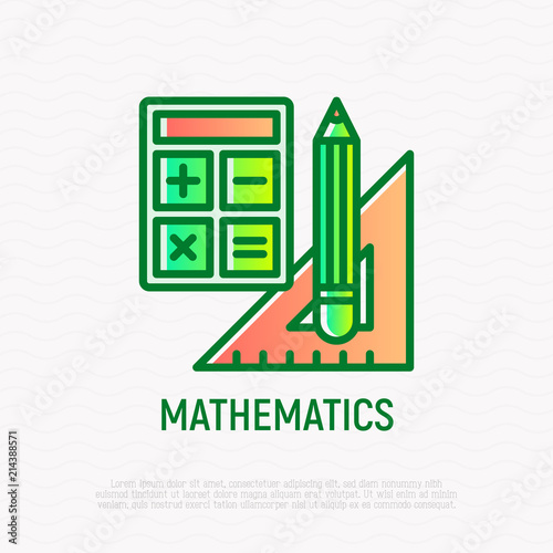 Mathematics Symbol Thin Line Icon Calculator Pencil Triangle