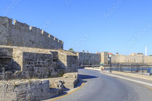 Fotografiet  Car road outside of walls of Rhodes near the virgin gate in Rhodes island, Greec