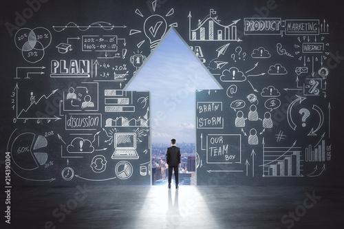 Fototapeta business idea sketch and businessman in arrow exit obraz