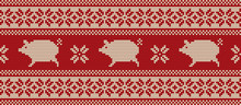 Knitted Pattern With Pigs In Red And White Colors. Ornament. Border. Seamless Sample. It Can Be Used As A Background To The New Year 2019 Pig. Vector Illustration