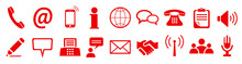 Set Red Contact Sign Icons - S...
