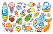 Summer Stickers Set.