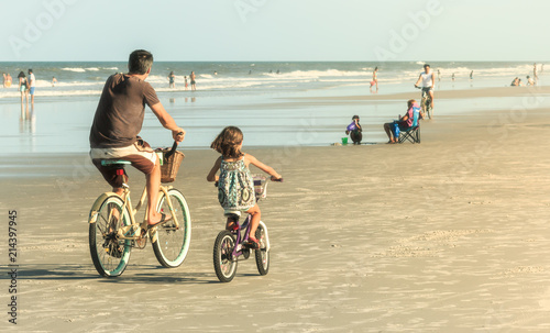 Recess Fitting Bicycle Father and Daughter Biking on Beach, Retro Look