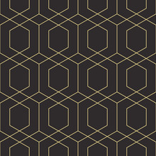 Seamless Black And Gold Diamond Outline Geometric Pattern Vector