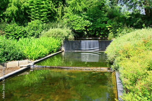 fontaine,bassin  d'eau dans aménagement de jardin Wallpaper Mural