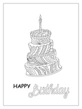 Outline Doodle Cake Tier With Candle And Words
