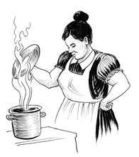 Housewife Cooking. Ink Black A...
