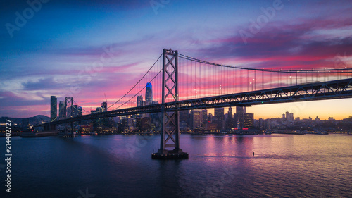 Canvas Prints San Francisco Aerial Cityscape view of San Francisco and the Bay Bridge with Colorful Sunset