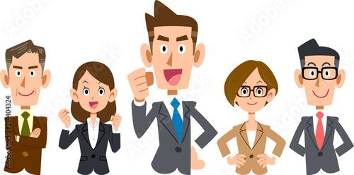 Fototapeta 若手社員を中心としたビジネスのチーム_上半身