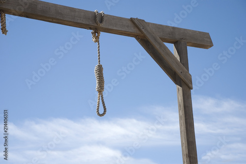 Fotografie, Obraz  Noose Hanging from Gallows