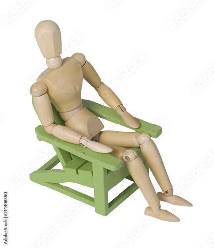 Valokuva  Relaxing in a Wooden Green Garden Chair