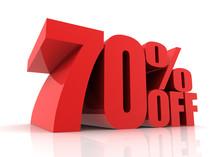 Seventy Percent Off Sale Concept       3d Illustration