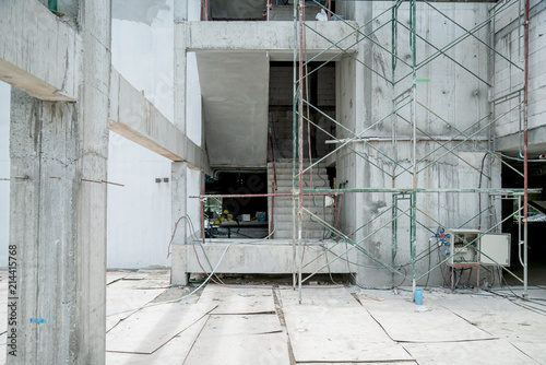 building site construction with cement wall and steel  frame constructure