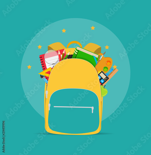 Obraz Bag, backpack icon with school accessories. Vector Illustration - fototapety do salonu