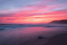 Sunset At An Australian Beach Alongside The Iconic Great Ocean Road