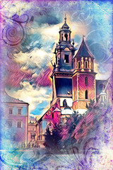 Old city Krakow art illustration retro vintage