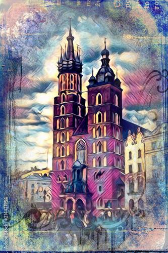 Fototapeta Old city Krakow art illustration retro vintage obraz