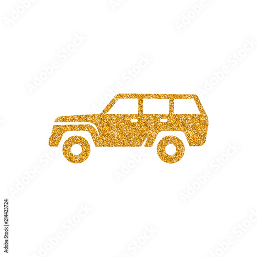 Платно Car icon in gold glitter texture