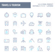 Travel, Tourism & Vacation Minimal Vector Icon Set (EPS 10)