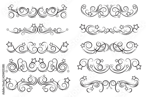 Set of curls and scrolls with stars. Fun decorative elements for ...