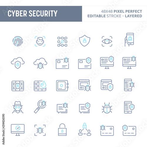 Fotografía  Cyber & Digital Security Minimal Vector Icon Set (EPS 10)