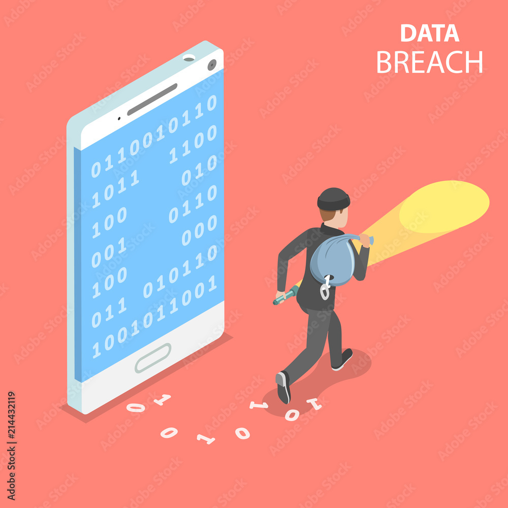 Fototapeta Flat isometric vector concept of data breach, confidential data stealing, cyber attack.
