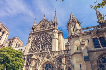 Details on the facade of Notre Dame de Paris in Paris, France.