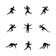 Set Stick Figures Of Runners, ...