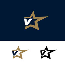 Letter V Logo Template With Star Design Element. Vector Illustration. Corporate Branding Identity