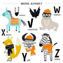 Cute Vector Zoo Alphabet Poster With Cartoon Animals. Set Of Kids Abc Elements In Scandinavian Style