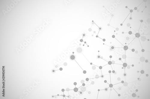 Fototapety, obrazy: Molecular structure background and communication. Abstract background with molecule DNA. Medical, science and digital technology concept with connected lines and dots.