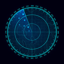 Vector Blue Radar Screen. Mili...