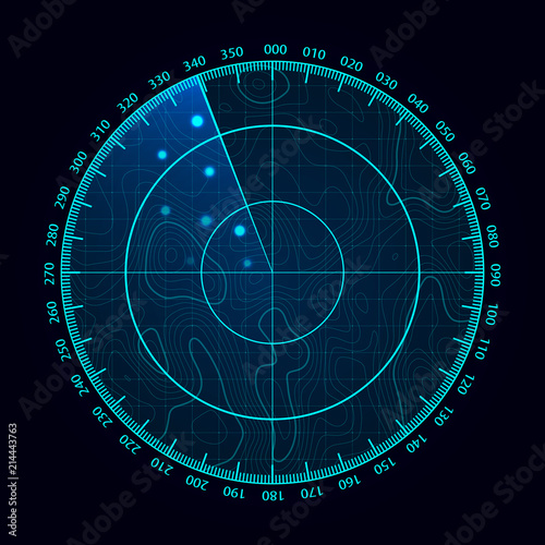 Cuadros en Lienzo  Vector blue radar screen