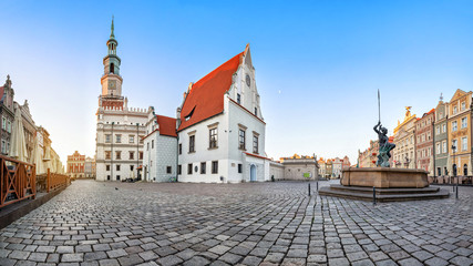 Panorama of Old Market square (Stary Rynek) in Poznan with historic building of weigh house (waga miejska)