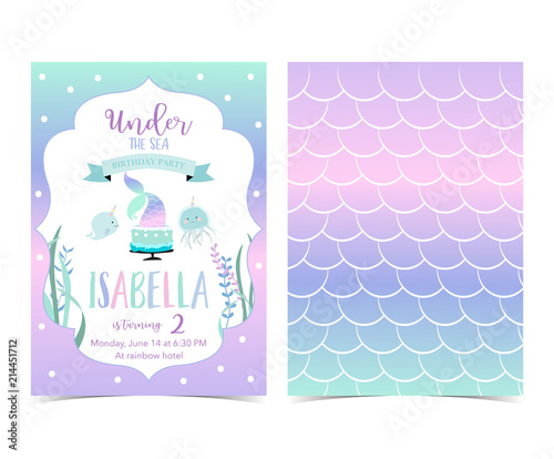 Photographie  Hand drawn cute card with mermaid,cake, narwhal,jellyfish and scale
