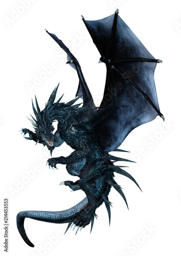Naklejka premium 3D Fantasy Fantasy Dragon na białym tle