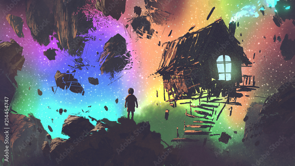Fototapeta night scenery of the boy and a house in a strange place, digital art style, illustration painting