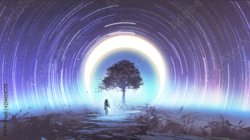 Wall Murals Eggplant young woman playing guitar for the magic tree against star trails and the moon in the sky, digital art style, illustration painting