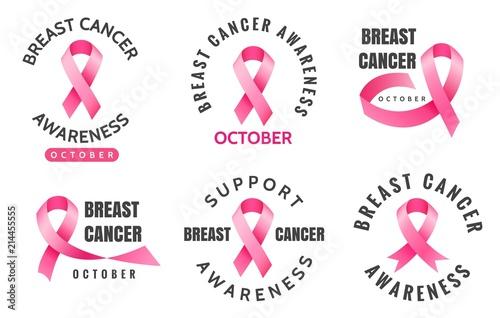 Breast Cancer Emblems Vector Woman Pink Ribbons Aware Logo Signs