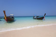 Paradise island with boats