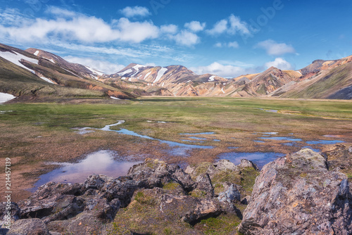 Spoed Foto op Canvas Cappuccino Amazing color volcanic mountains Landmannalaugar in the Fjallabak nature reserve, Iceland. Beautiful summer landscape of famous place